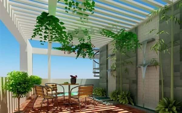 Thiết kế sân thượng đẹp cho nhà phố hiện đại