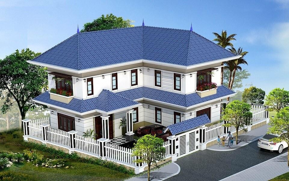 Mẫu biệt thự nhà vườn 2 tầng mái thái