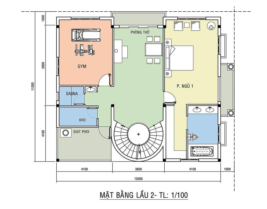 Mẫu biệt thự tân cổ điển 3 tầng 11x12m